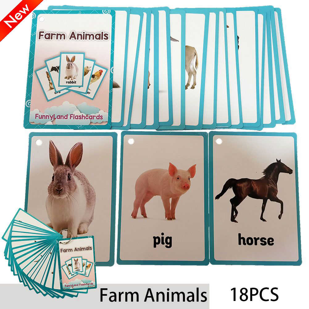 18Pcs/Set Farm Animals Kids Montessori Learning English Card Word Card Pocket Flash Card Early Educational Toys For Children