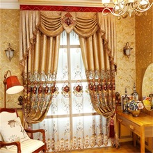 European/American Royal Gold Luxury  embroidered curtains for Living Room window curtain Bedroom Window kitchen/Hotel