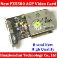 Direto da Fábrica NOVA GeForce FX5500 256 MB DDR AGP 4X cartão VGA DVI Placa De Vídeo AGP 8X placa gráfica com CD