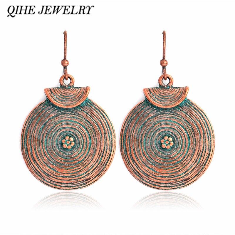 QIHE JEWELRY Simple Rustic Blue Earrings Bohemian Gypsy Jewelry Modern Minimal Geometric Jewelry
