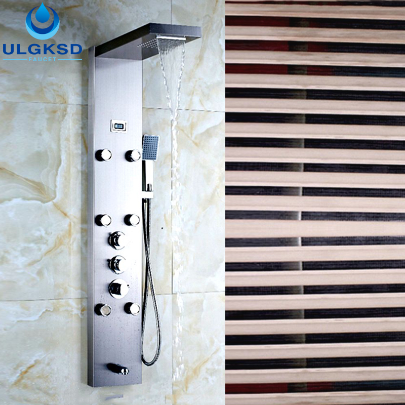 Ulgksd Stainless Steel Thermostatic Waterfall Rain Shower Column Panel W/ Hand Shower Faucet Massage Jets Tub Faucet Spout gold finish shower panel waterfall shower column w jets tub spout brass hand shower shower panel