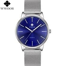 WWOOR Male Hour Blue Watch Men Quartz Wristwatch Mens Thin Analog Clock Stainless Steel Luminous Water Resistant erkek saat 2018 стоимость