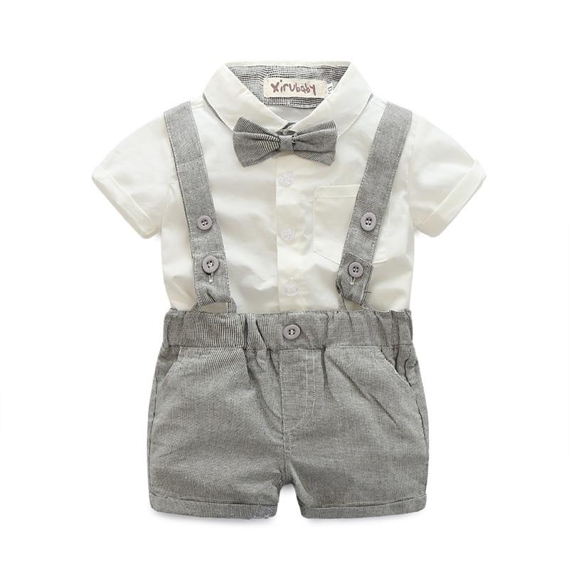 (CLOTH FOR LITTLE) Baby boys Clothing Sets infant bow tie+white Shirt+short overalls 3pcs/set newborn clothes grey black Straps