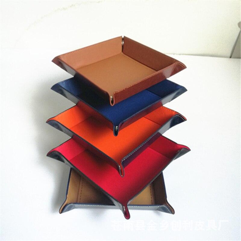 Складная коробка для хранения из искусственной кожи, квадратный поднос для настольной игры в кости, кошелек для ключей, коробка для монет, поднос, настольная коробка для хранения, лотки, Декор