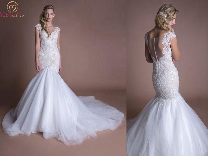 2019 New Perfect White Wedding Dresses Chic V Neck Applique Lace Bridal Gowns Cap Sleeves Court Train Tull Vestido De Noiva