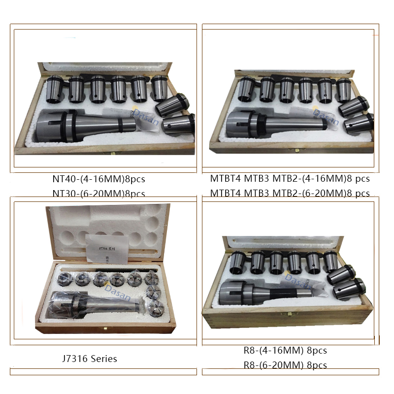 цена на 8Pcs Morse Taper Collet and Chuck Spanner Set MT4 MT3 MT2 R8 NT40 NT30 Lathe Indexable Milling Cutter Tools