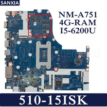 KEFU NM-A751 Laptop motherboard for Lenovo 510-15ISK Test original mainboard 4G-RAM I5-6200UU GT940MX