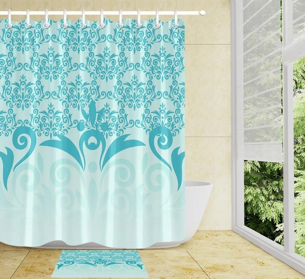 blue mint green colorful beautiful pattern shower curtain sets hooks bathroom curtain waterproof polyester fabric bathroom mat