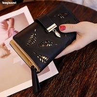 Women Wallet PU Leather Zipper Wallets Female Hasp Purse Long Printing Floral Women Retro Leather Wallet