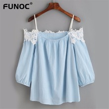 Funoc New Summer Female Shirt Summer Chiffon Blouse Tops Ladies Lace Off Shoulder Shirts Casual Women Shirt Crop Wholesale Tops