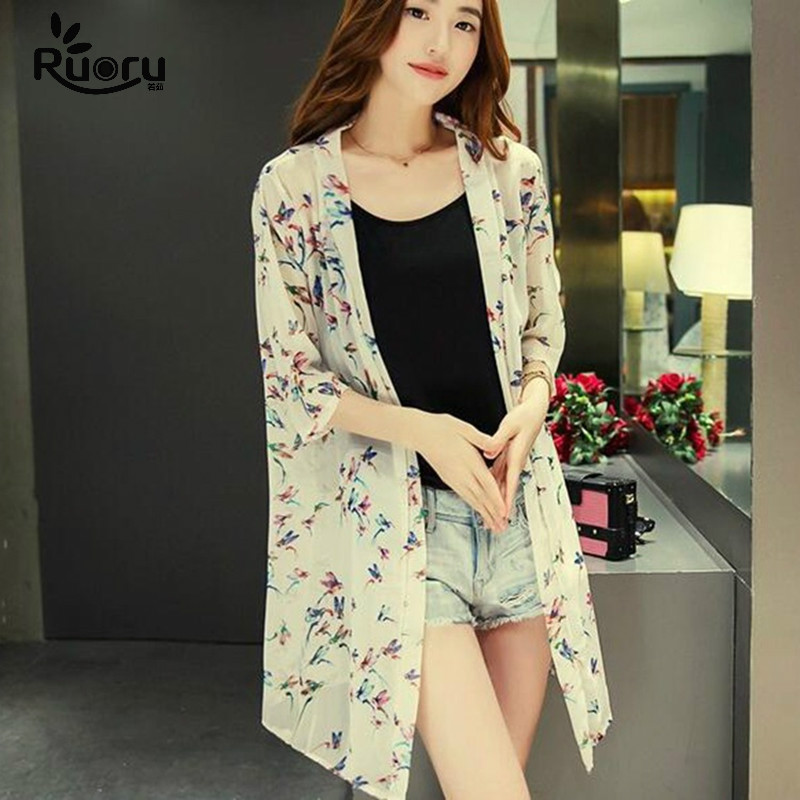 Aliexpress.com : Buy Black White Bird Printed Long Kimono Cardigan ...