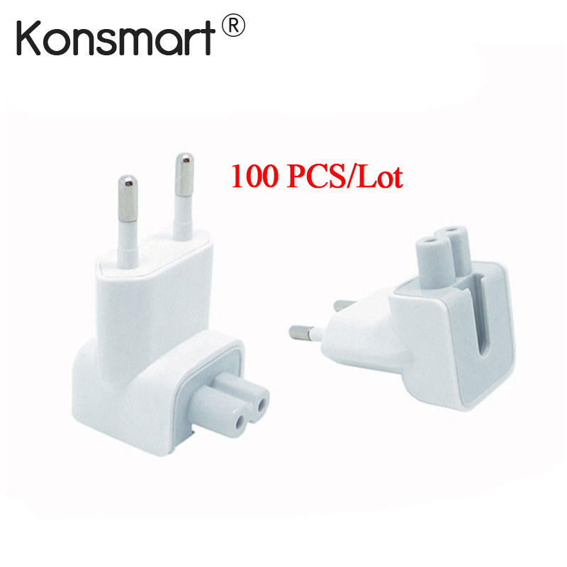 Wholesale 100PCS/Lot Duckhead AC Power Adapter For Apple iPad iPhone Charger MacBook Air European Plug Standard Socket KONSMART-in Phone Adapters & Converters from Cellphones & Telecommunications