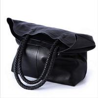2018 New Women Handbag Genuine Leather Shoulder Bags Cowhide Ladies Black Brown Casual Shopping Bag Large Capacity Tote Bolsos