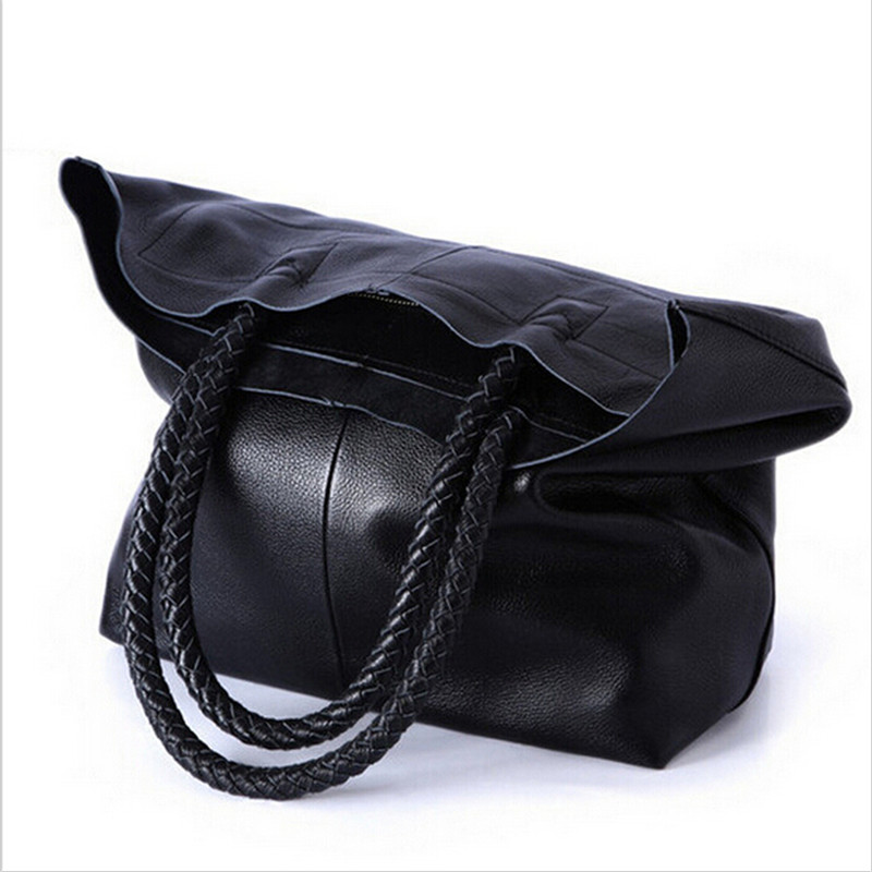 2018 New Women Handbag Genuine Leather Shoulder Bags Cowhide Ladies Black Brown Casual Shopping Bag Large Capacity Tote Bolsos 2018 new women bag ladies shoulder bag high quality pu leather ladies handbag large capacity tote big female shopping bag ll491