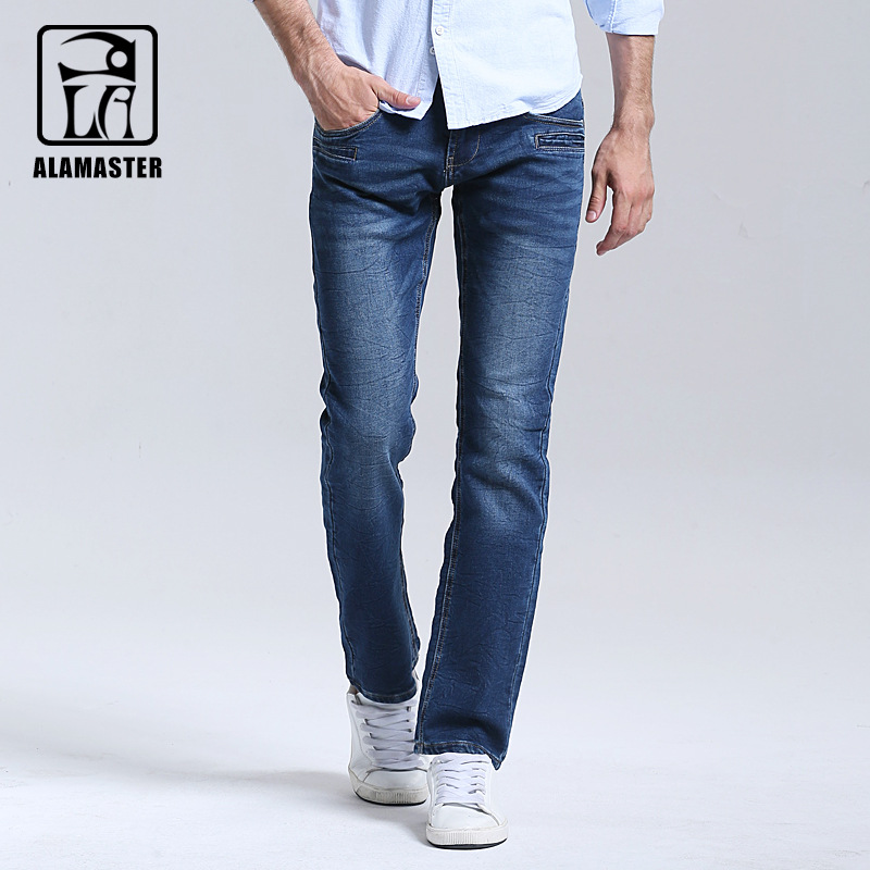 2017 New Autumn and Winter Mens Knitted Stretch Jeans Mens Straight Slim Jeans