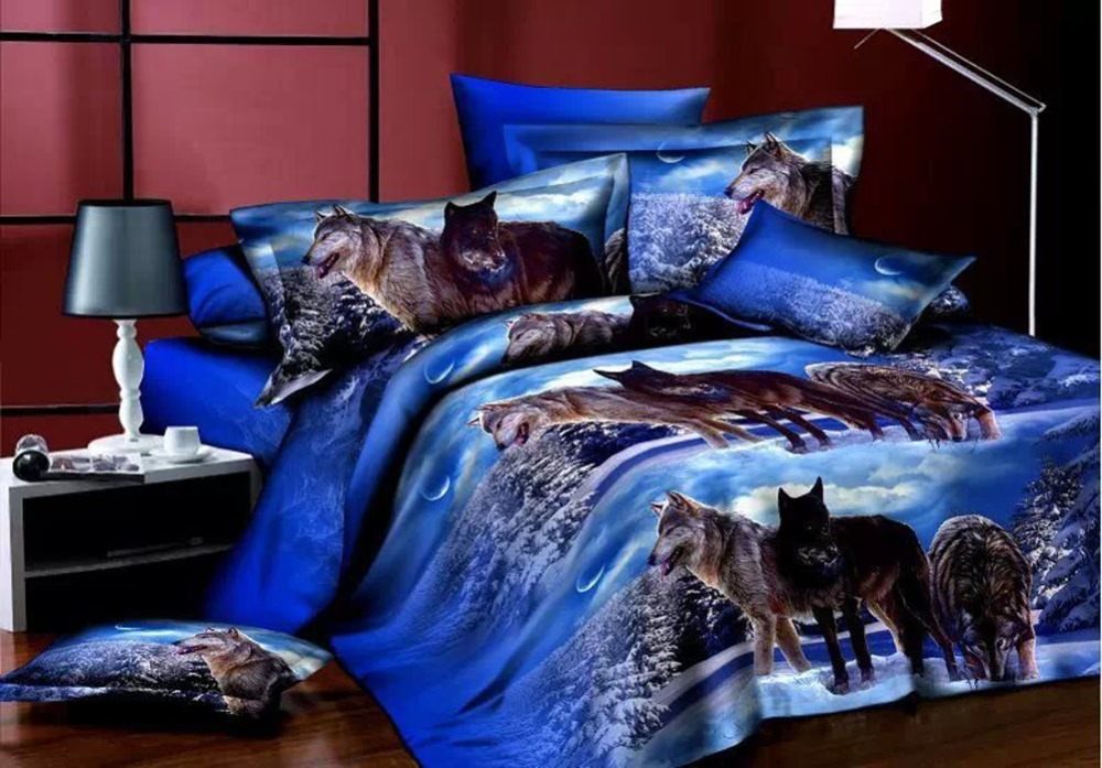 3d Wolf Sheet Pillowcase & Duvet Cover Sets Dreamlike Snowy Night 4pcs Bedding Set Animals Bedclothes Polyester Home Textile