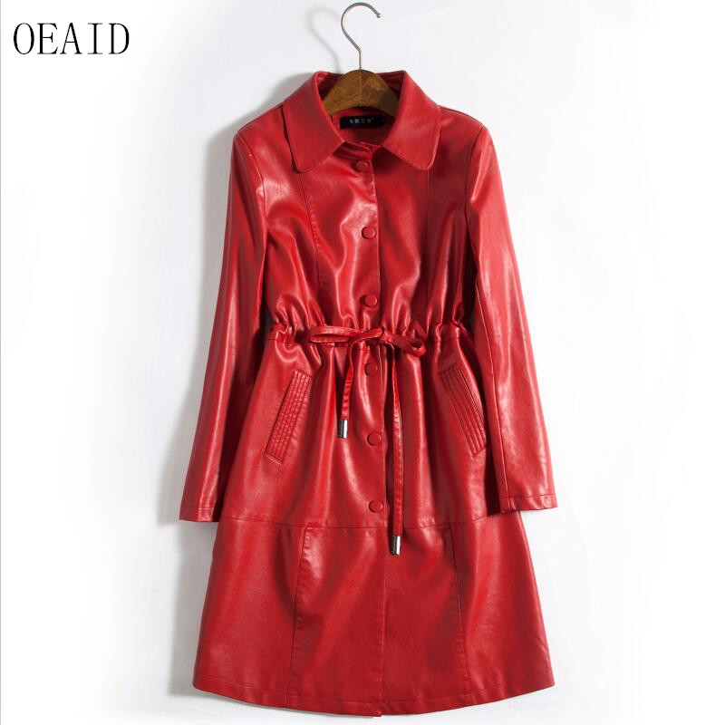 Plus Size Ladies   Leather   Clothing Spring And Autumn 2019 New   Leather   Coat Women Long Slim Motorcycle   Leather   Jacket Women OEAID