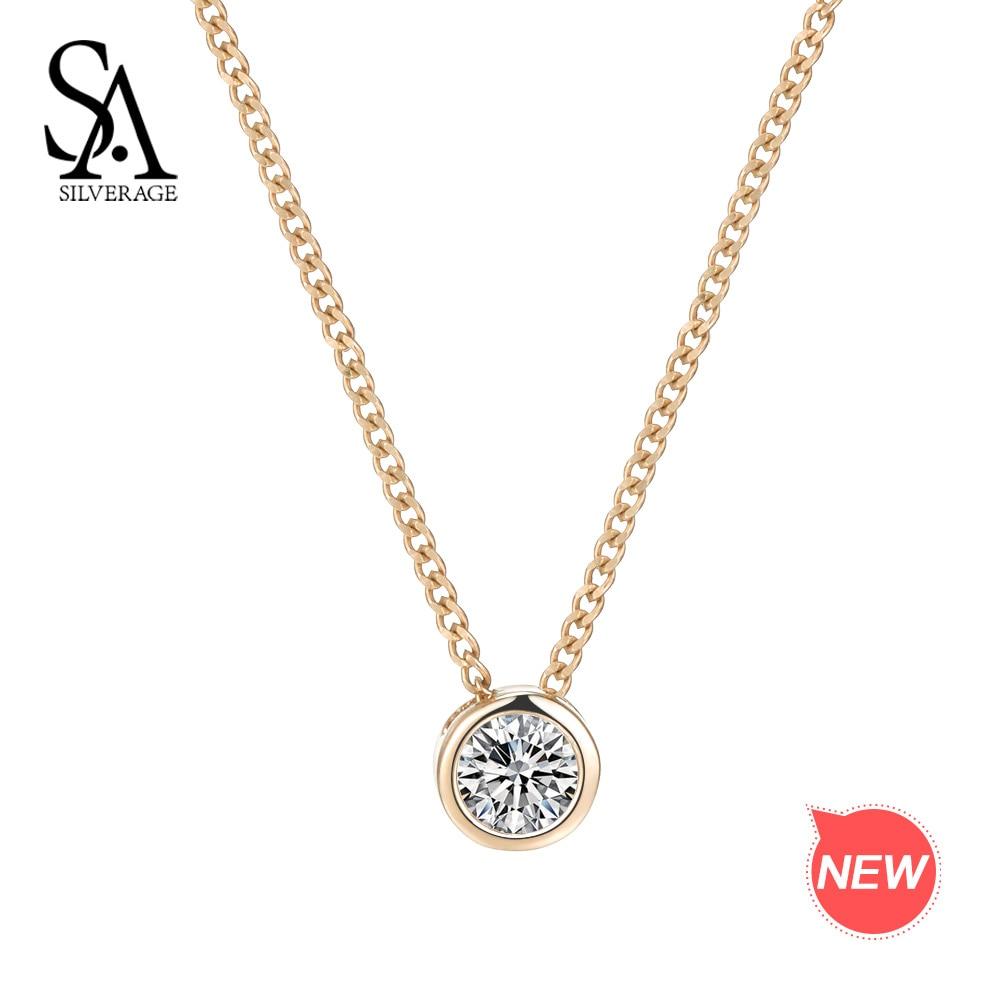 SA SILVERAGE 14 K or jaune pendentif rond collier pour femmes colliers pour femmes Chokers colliers pour femmes pierres précieuses 2018 nouveau