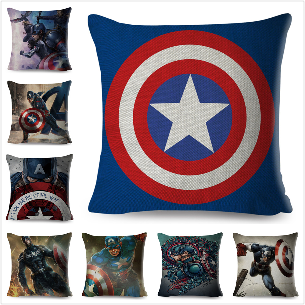 Cartoon Marvel The Avengers Captain America Pillow Case Super Hero Anime Cushion Cover For Sofa Decor Linen Throw Pillowcase
