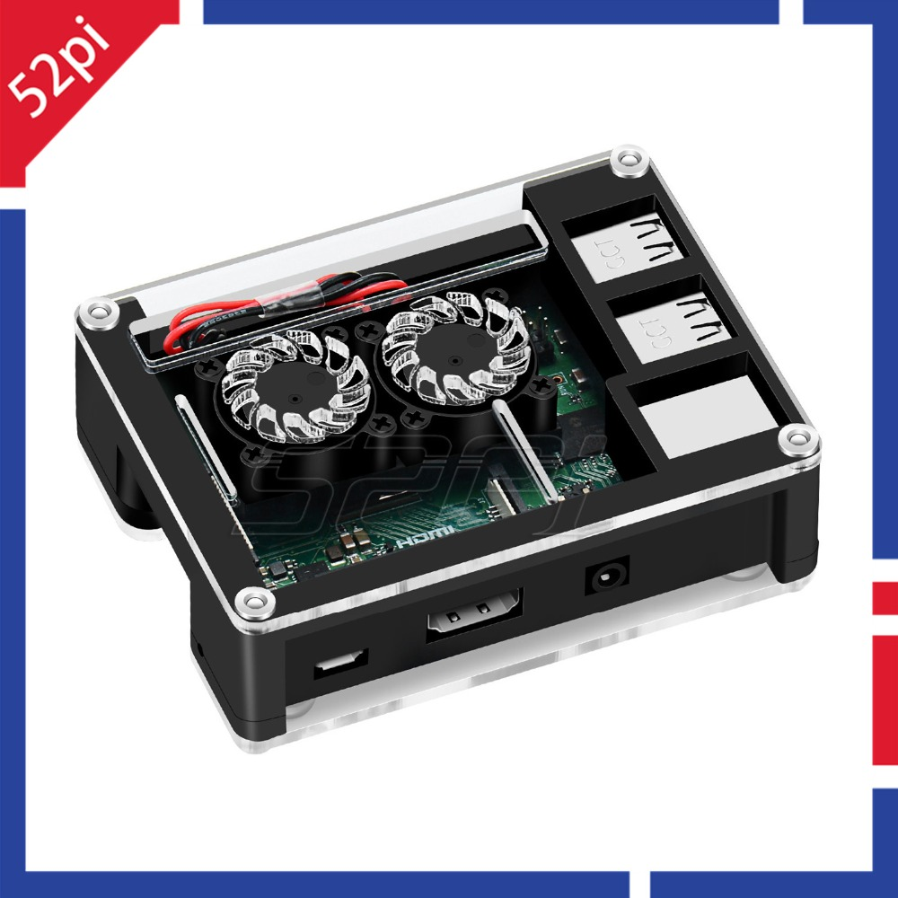 52Pi Acrylic Plastic Case With Optional 3B+ Version Dual Fan Heatink 5V 2.5A Power Adapter Only For Rasberry Pi 3 B Plus / 3B+
