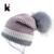 Lã de Malha de inverno Chapéu Gorro de Pele De Guaxinim das Mulheres Bola Pompom Skullies Caps Senhoras Malha Chapéus Gorros De Pelúcia Mais Grosso Para mulheres