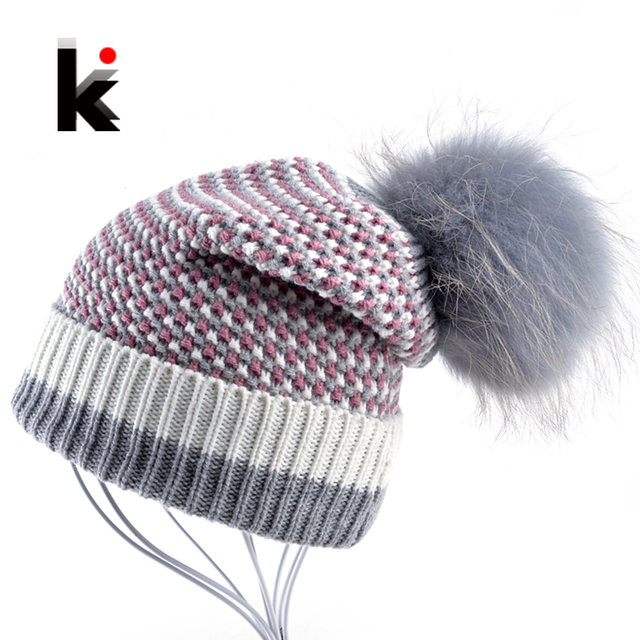 Winter Knitted Wool Hat Women's Beanie Raccoon Fur Pompom Ball Skullies Caps Ladies Knit Hats Thicker Plush Beanies For Women