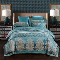 Luxury Jacquard Bedding Set 4pcs Duvet Cover Sets Soft silk and cotton Bed Linen Flat Bed Sheet Set Pillowcase Drop Ship