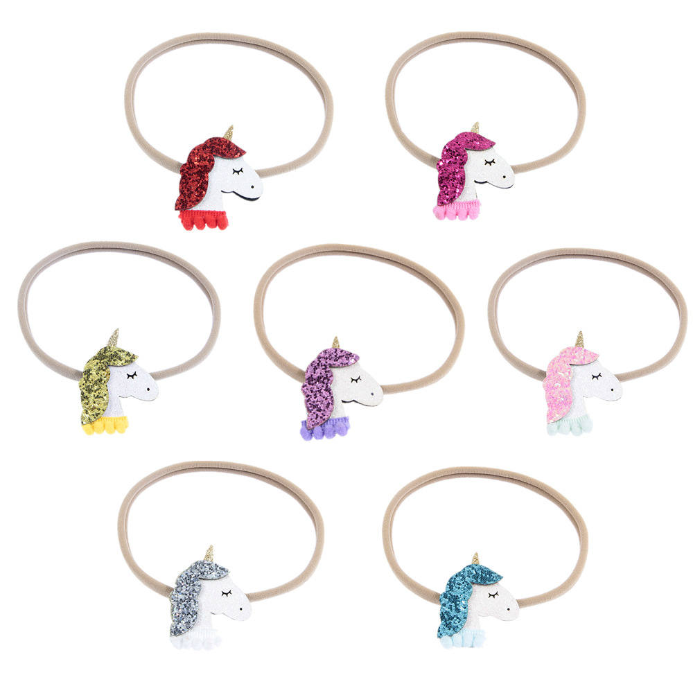 1/2PC Unicorn Floral rubber band Cartoon Ribbon Hair Tie Kid Hair Rope Hair Accessories Decoration Girl Elastic Hair bands