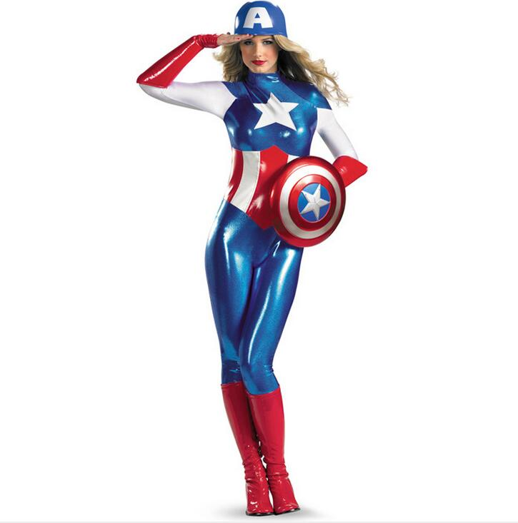 supergirl avengers captain america costume women adult superhero cosplay sexy catsuit halloween costume for women - Halloween Costumes Prices