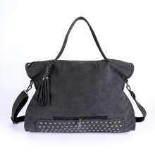 Rivet Nubuck Leather women bag Fashion Tassel Messenger Bag Vintage Shoulder Bag Larger Top-Handle Bags  Mummy Package