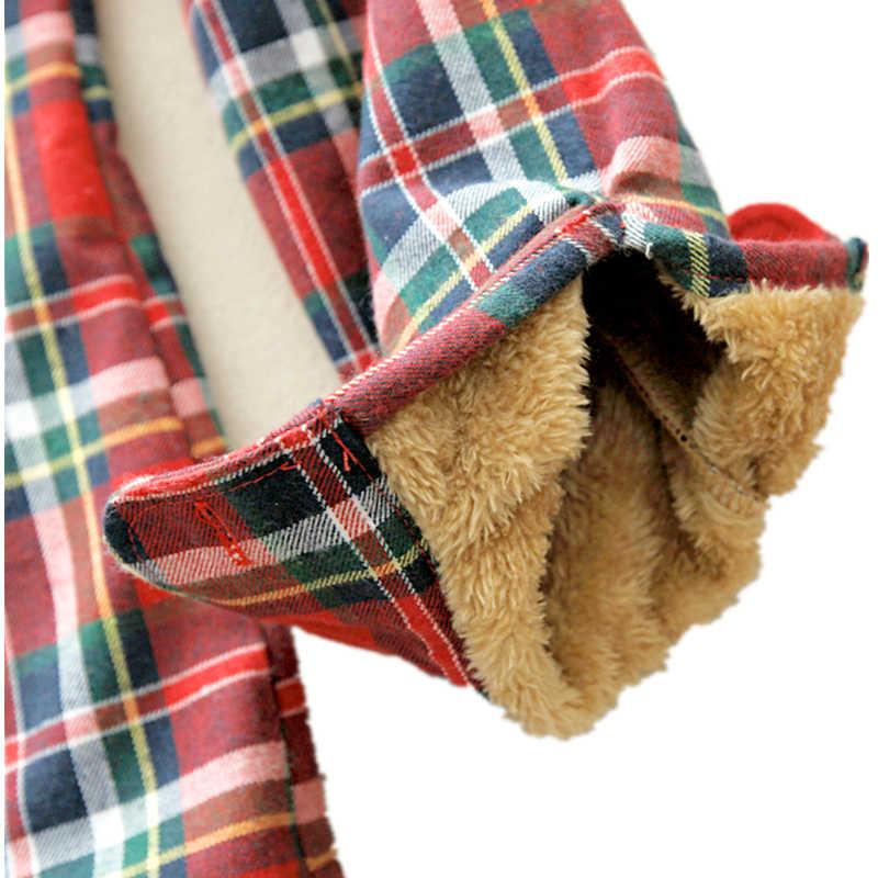 ฤดูหนาว WARM เสื้อผู้หญิงฤดูใบไม้ร่วง Tops เสื้อ Camisa Femininas แขนยาวหนากำมะหยี่ลายสก๊อตเสื้อ Flannel เสื้อผ้าฝ้าย TOP
