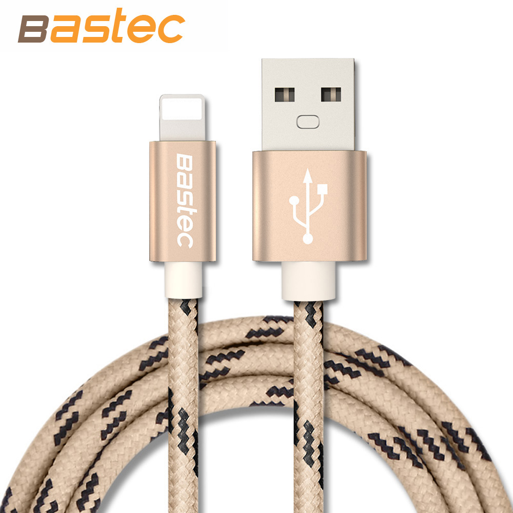 For iPhone 7 6 5 iOS 10 Bastec Metal Plug Thread Braided Sync Data Charging Phone