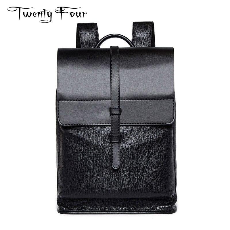 цена Twenty-four MAN Business Bag Genuine Leather Backpack large-capacity Casual Fashion style black computer bag Cowhide for men онлайн в 2017 году