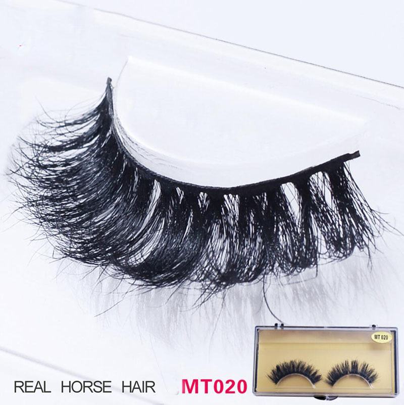 Horse Hair Eyelahes Hand Made Thick Curly False Eyelashes Fake Eye Lashes Natural Long Mink Makeup Extension Tools HT1105