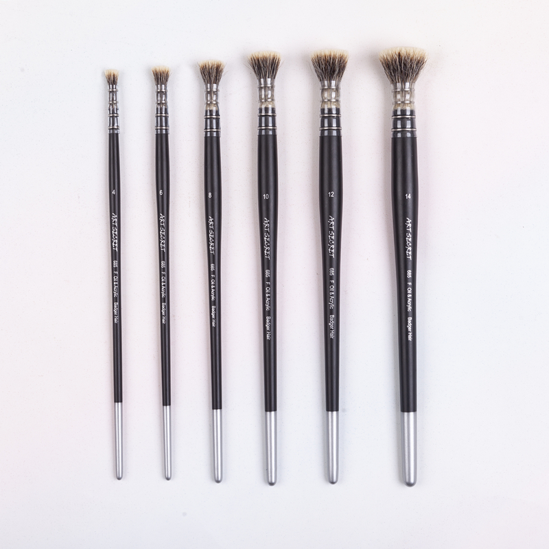 1PC 685F Badger Hair Wooden Handle Oil And Acrylic Painting Art Paint Brush For Drawing