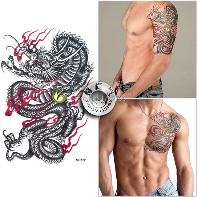 Free Shipping Fashion Tatuagem Large Size Male Chest Back Queen