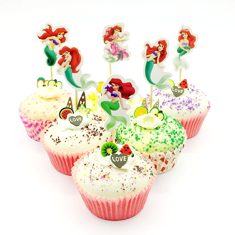 720pcs Little Mermaid Princess Green Tail Toppers Picks Kids Birthday Party Wedding Decoration Baby Shower Cup Cake Top Supplies