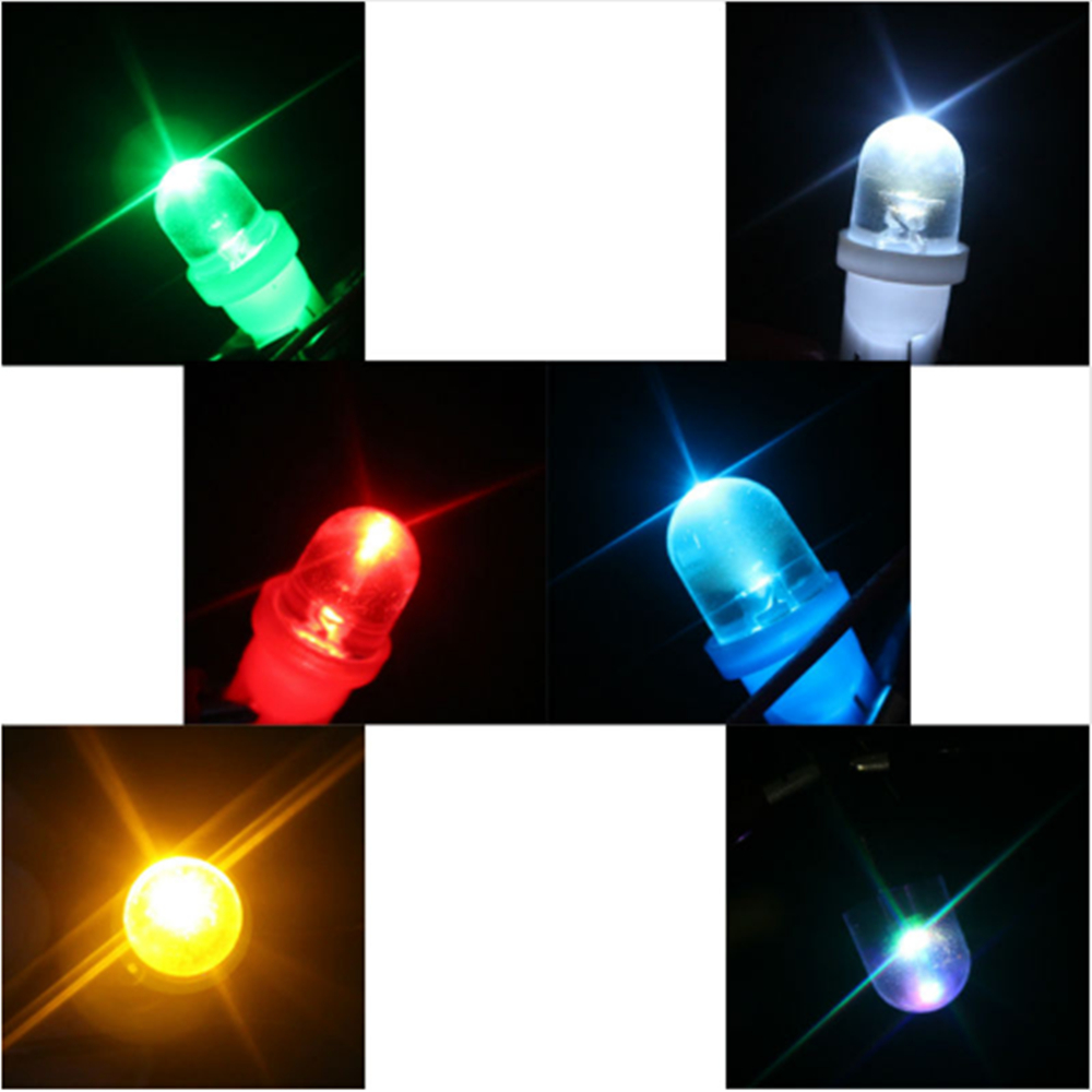 200 pcs DC 6V 6 3V T10 R LED Bulbs Pathway Lighting Clearance Reading Lights White Blue RGB Red Green Amber RGB 20lm in Signal Lamp from Automobiles Motorcycles