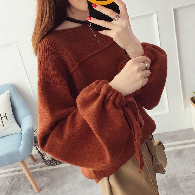 2019 New Women's Pullover Coarse Wool Sweater Warm Spring Autumn Winter Casual Sleeved Pullover