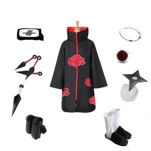 Image 2 - Brdwn NARUTO Akatsuki Uchiha Itachi Suit Cosplay Costume (Red Cloud Cloak+Headband+Shoes+Ring+Kunai+bag+shuriken+necklace)