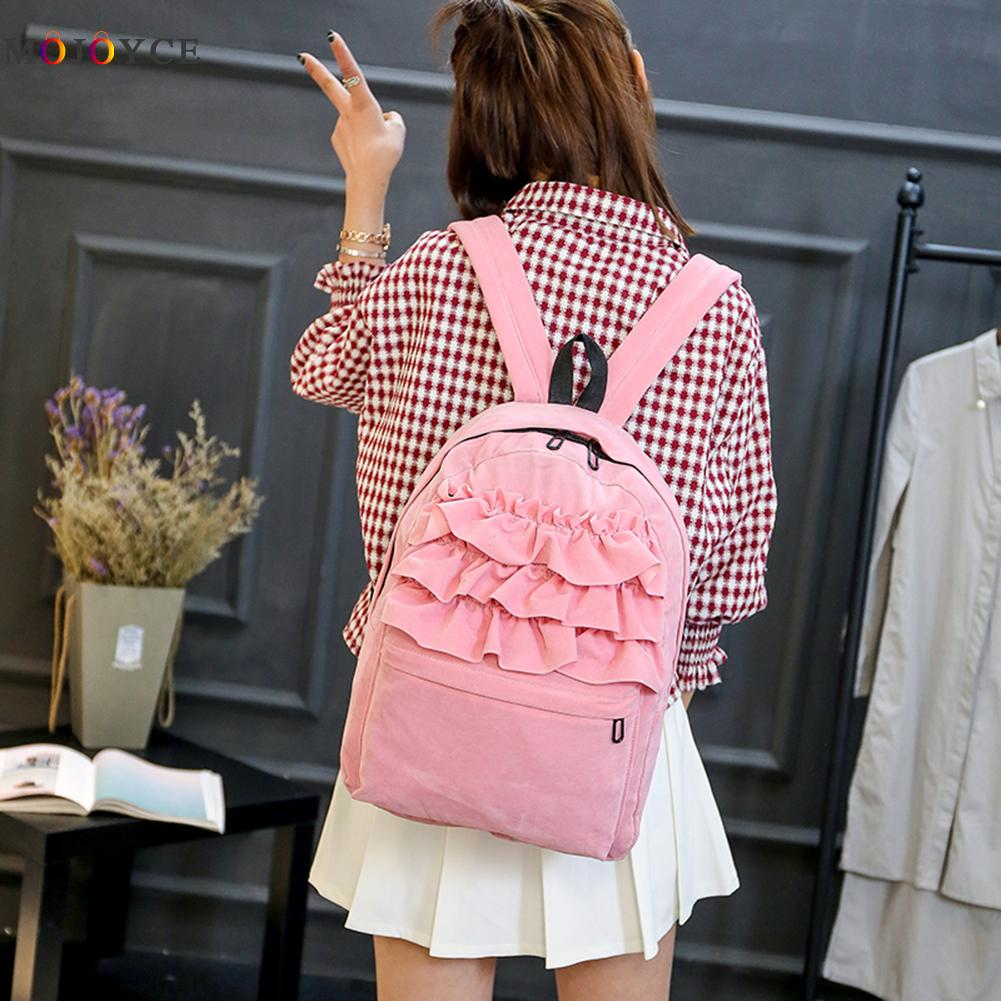 2017 New Lolita Flouncing Lace Backpack Students Solid Velvet Backpack Book Bag School Bags For Teenager Girls Travel runsuck