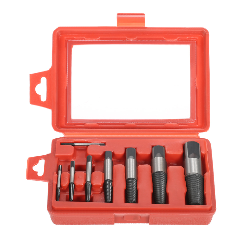 8pcs high quality Screw Extractor Easy Out Drill Bits Remover Set hand Tools Kits for Broken Bolt Faucet Triangular Valve +Case original scv valve overhaul kits 294009 0741 1460a056