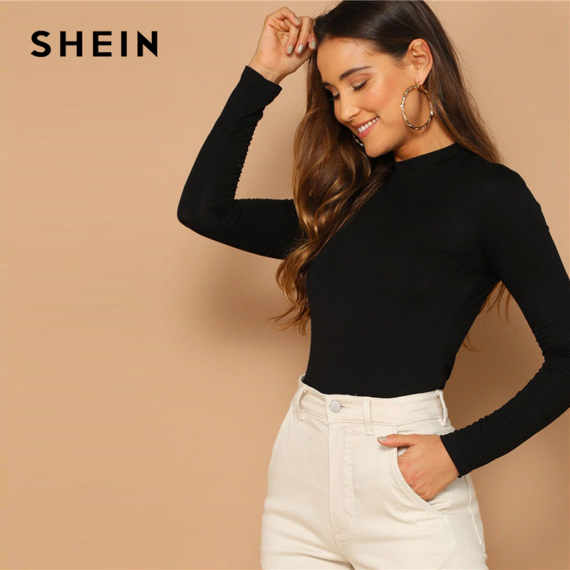 SHEIN Spring Lady Black Solid Form Slim Fit Tee Women Highstreet Stand Collar Mock Neck Casual Long Sleeve Tshirt Tops