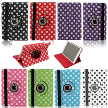360 Rotating Polka Dot for ipad mini case luxury Leather Stand Flip Case Cover F