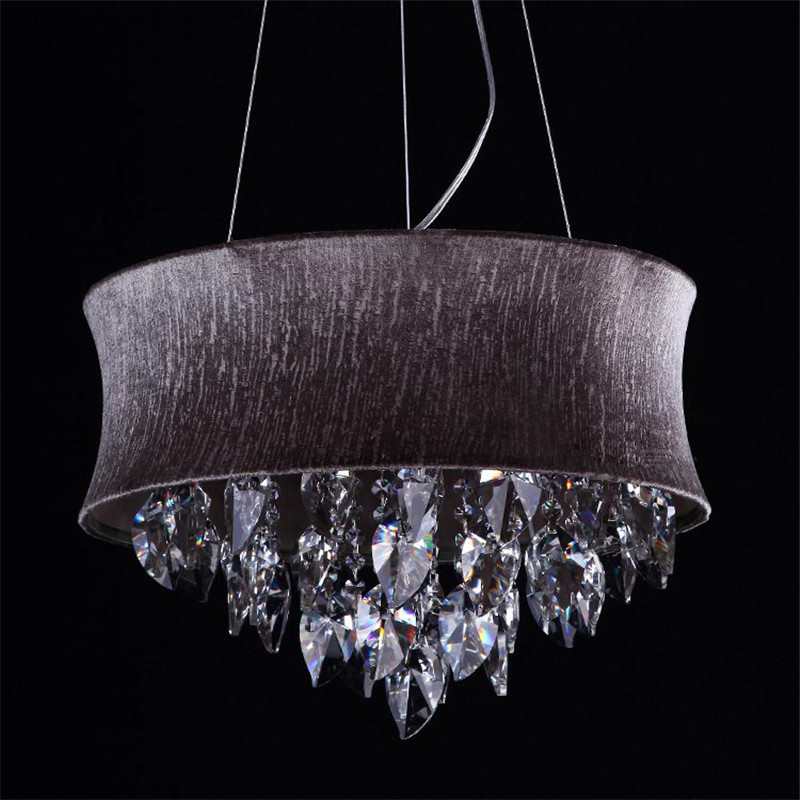 fumat smoke grey crystal chandelier modern suspension light for