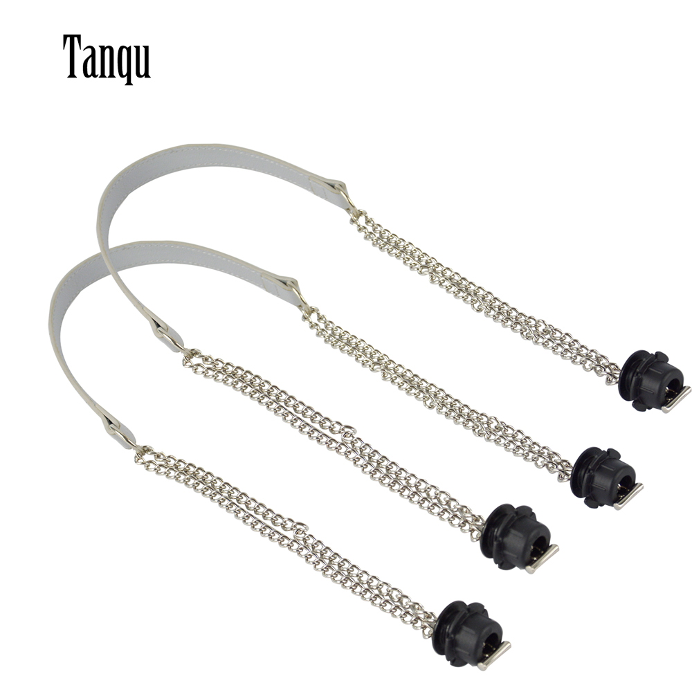 Tanqu New 1 Pair Obag Silver Long  Double Chain OT T OBag Handles For Obag EVA O Bag Totes Women Bag Shoulder HandBag
