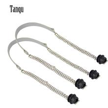 Tanqu nowy 1 para Obag srebrny długi podwójny łańcuch OT T OBag uchwyty dla Obag EVA O torba skrzynki kobiety torba torebka na ramię tanie tanio Metal 215g tq-127