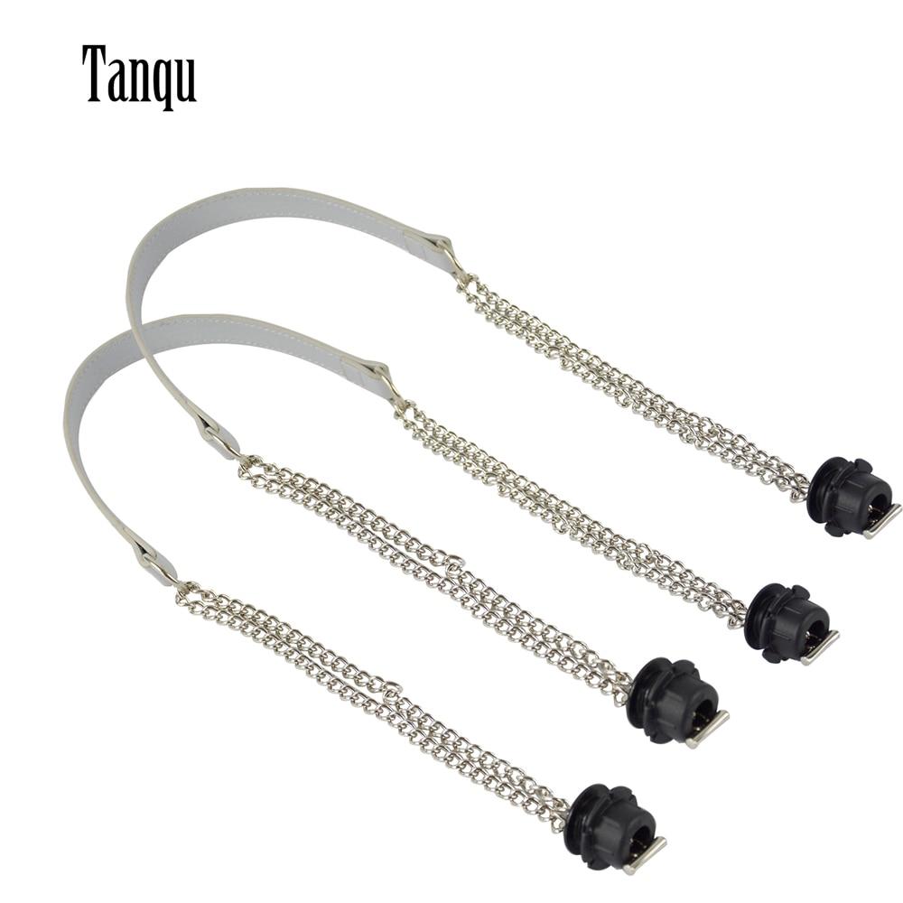d5790b41c Tanqu nueva 1 par Obag de plata doble cadena larga OT T OBag Manijas para  Obag