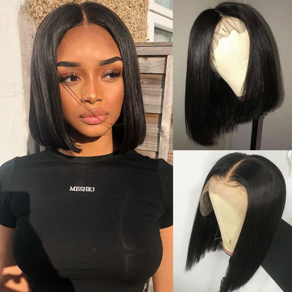 HTB1KQP5a.Y1gK0jSZFCq6AwqXXaC 13x4 Short Lace Frontal Human Hair Bob Wigs XYHair Brazilian Remy Hair Straight Lace Front Wig for Women Pre Plucked Hairline