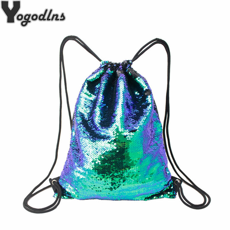 High Quality Sequined Backpack Glittering Shoulder Bling Bags Reversible Glitter Drawstring Backpacks Women Beach
